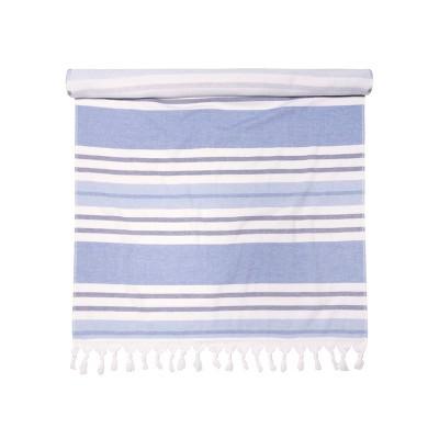 "Stripe Cotton Oversized 35"" x 68"" Fouta Beach Towel with Tassels - Blue Nile Mills"
