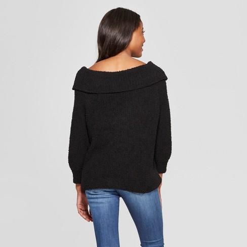 d7b4e710863b49 Women s Floral Print 3 4 Sleeve Off The Shoulder Pullover Sweater - Love    First Sight (Juniors ) Black   Target