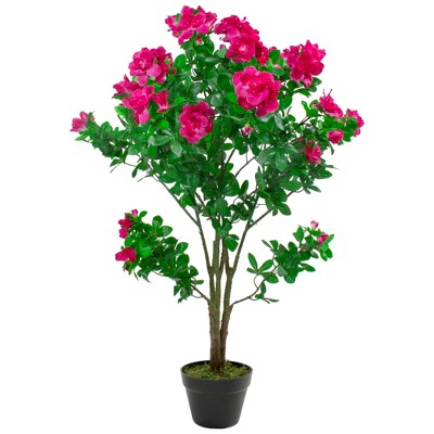 Northlight 3.6' Unlit Artificial Potted Green and Pink Azalea Flower Tree