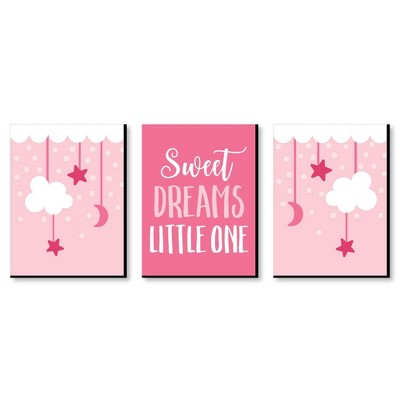 Big Dot of Happiness Baby Girl - Pink Nursery Wall Art and Kids Room Decorations - 7.5 x 10 inches - Set of 3 Prints