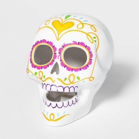 Da de Muertos Ceramic Lit Sugar Skull Pink - image 1 of 2