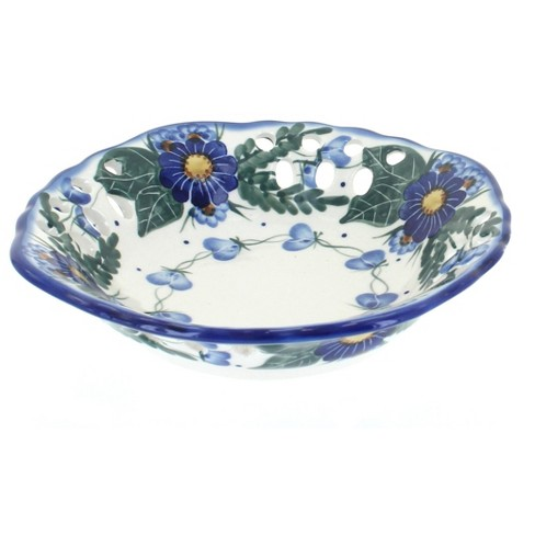 Blue Rose Polish Pottery Forget Me Not Small Fruit Dish - image 1 of 1