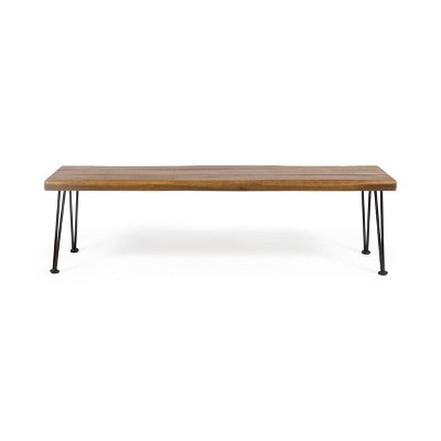 Zion Acacia Wood Modern Industrial Bench - Teak - Christopher Knight Home