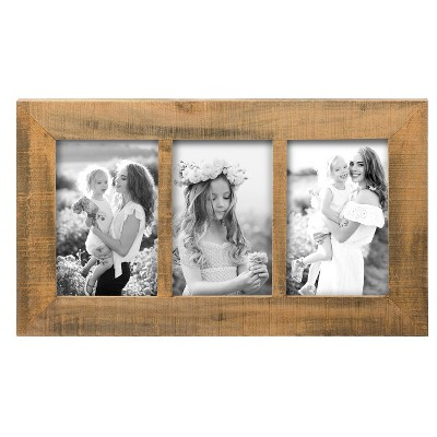 Natural Wood 4 x  6 inch Decorative Wood Picture Frame - Holds Three 4x6 Photos - Foreside Home & Garden