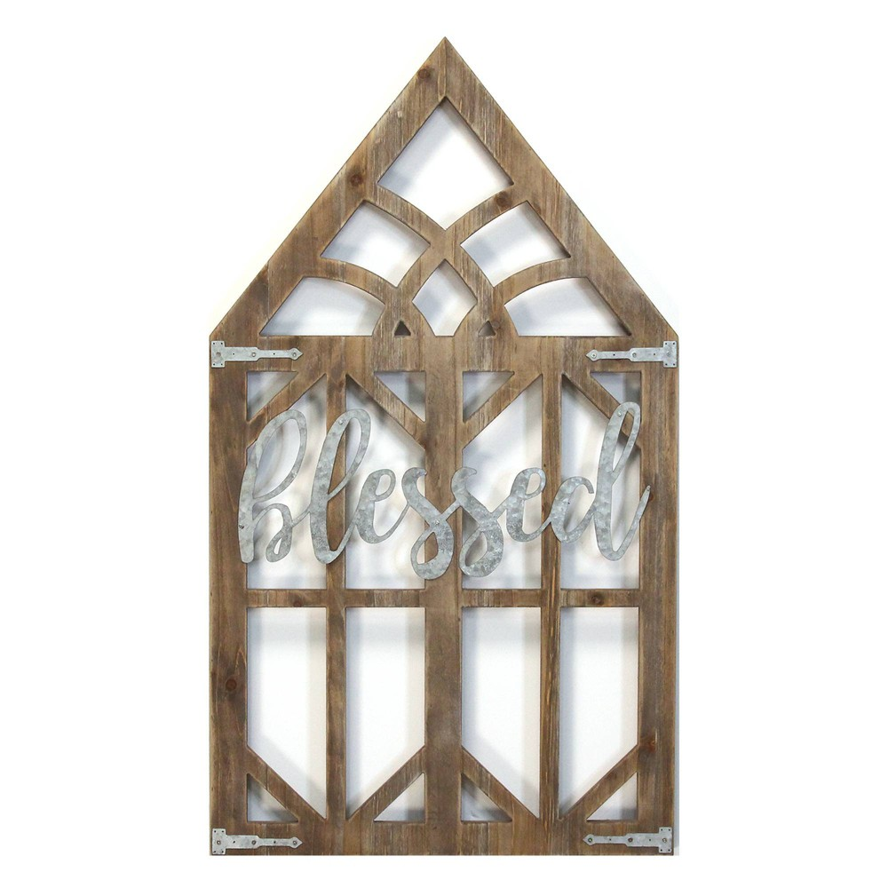 """Image of """"""""""""Blessed"""""""" Laser Cut Wood Window Frame Wall Decor - Stratton Home Decor"""""""