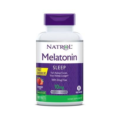 Natrol Melatonin 10mg Maximum Strength Fast Dissolve Sleep Aid Tablets - Strawberry - 100ct