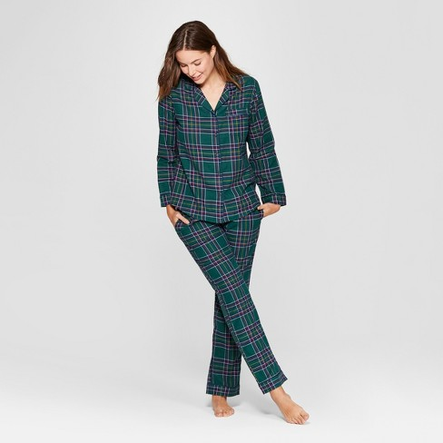 Women's Plaid Flannel Notch Collar Pajama Set - Gilligan & O'Malley™ Green - image 1 of 2