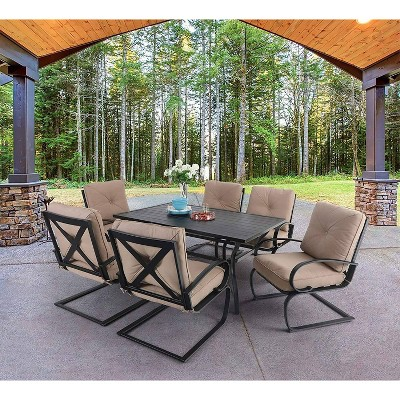 7pc Patio Dining Set with Rectangular Table with Umbrella Hole & Spring Motion Chairs - Beige - Captiva Designs