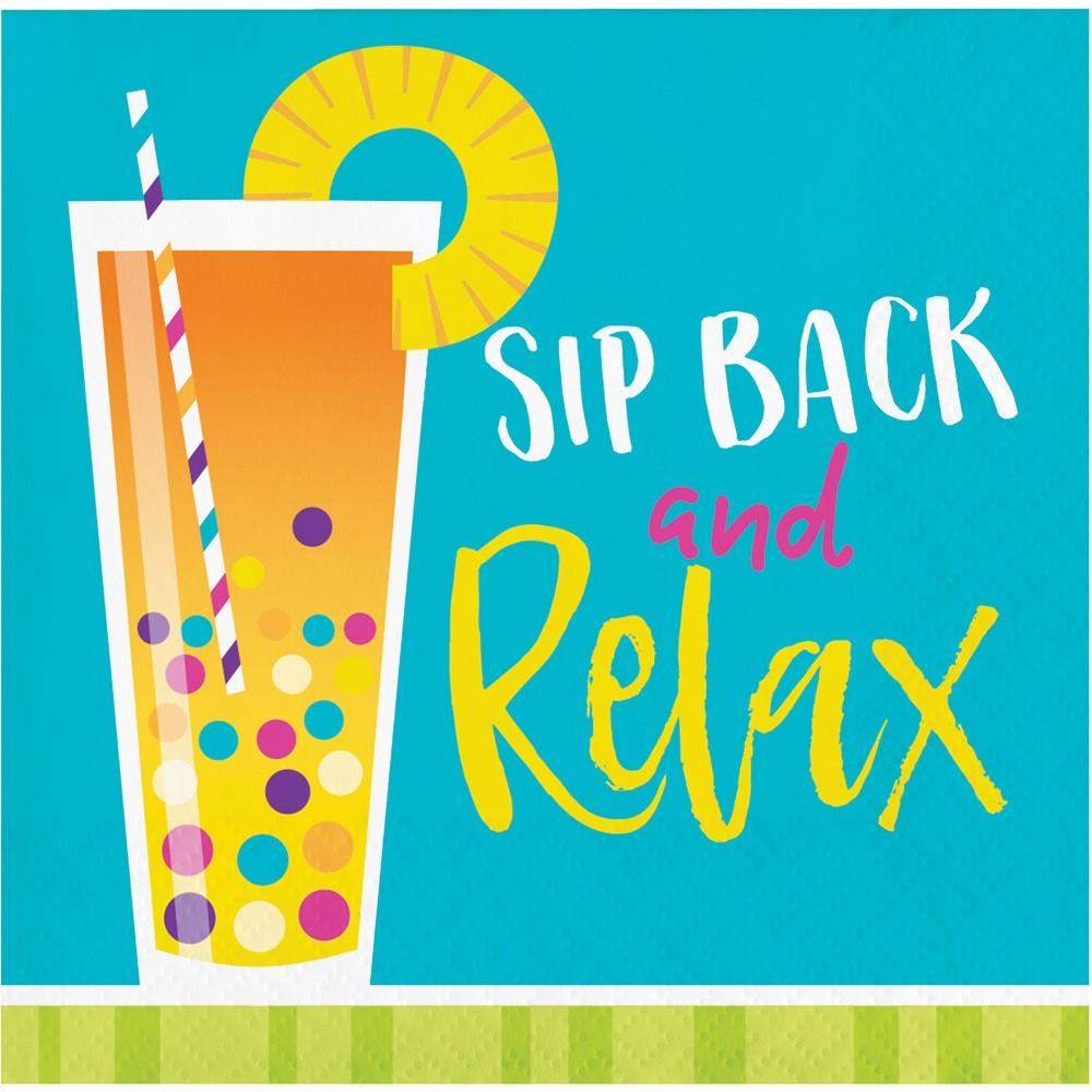 "Image of ""16ct Cocktail Fun """"Sip back and relax"""" Beverage Napkins"""