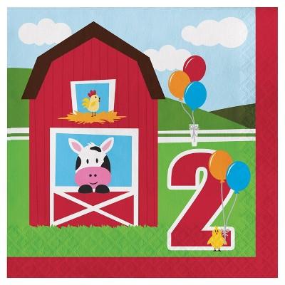 18ct Farm Fun 2nd Birthday Napkins