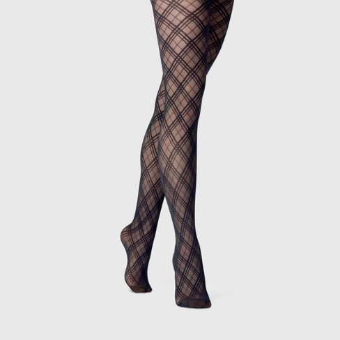 Women's Bias Plaid Tights - A New Day™ Black - image 1 of 2