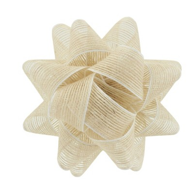 "6.5"" Trim Natural Fabric Gift Bow White - Spritz™"