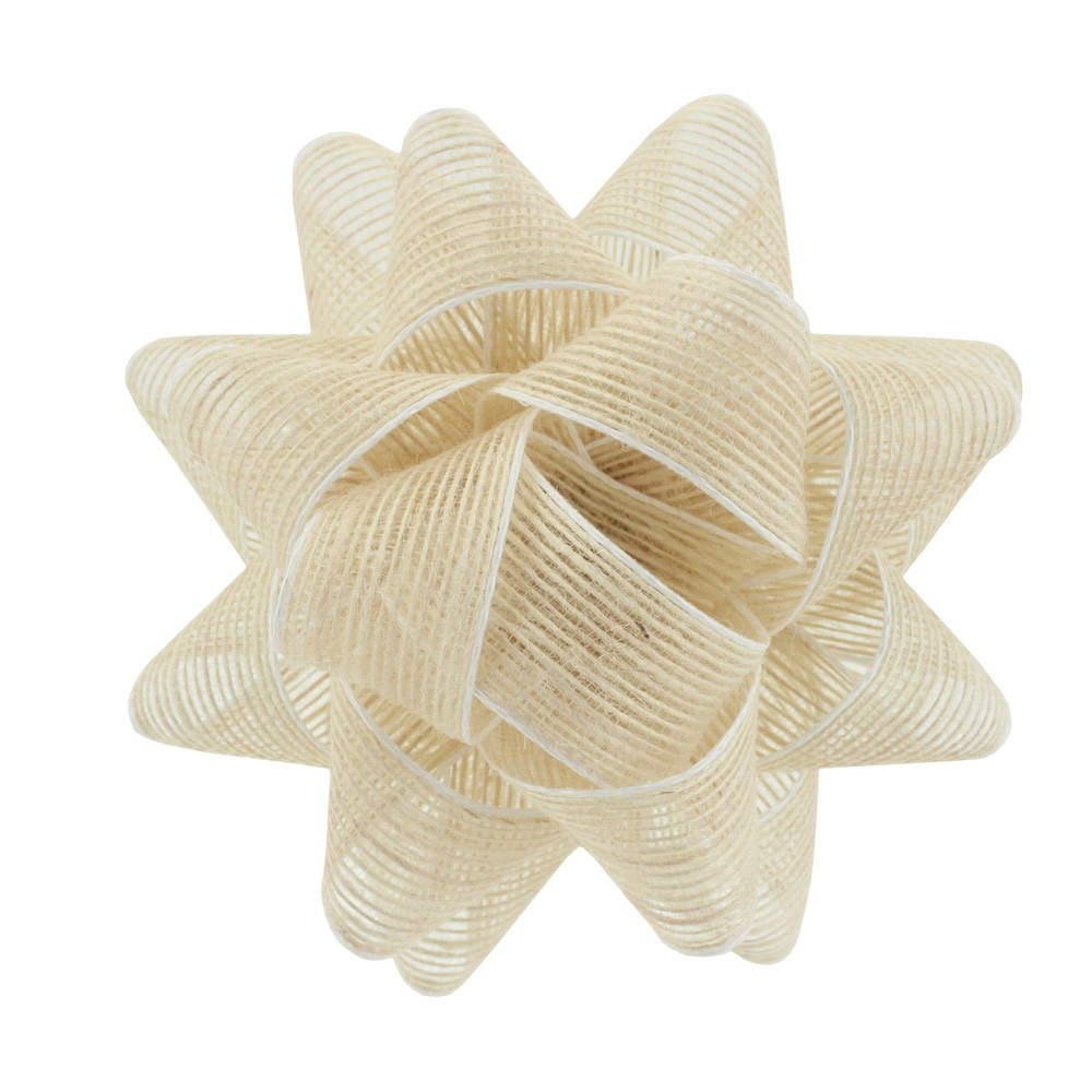 Image of White Trim Natural Fabric Bow - Spritz