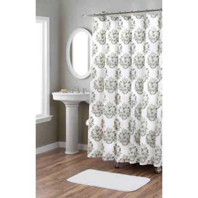 "72""x72"" Tabitha Cotton Fabric Shower Curtain Taupe - Nicole Miller"