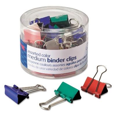 Officemate Binder Clips Metal Assorted Colors Medium 24/Pack 31029
