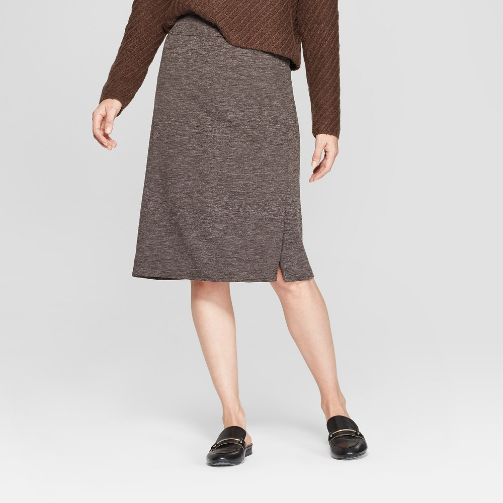Women's Side Vent Pull-On Pencil Skirt - Prologue Brown M
