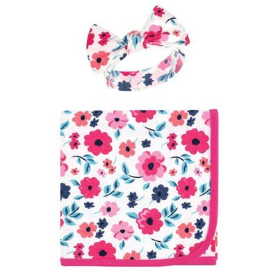 Touched by Nature Unisex Baby Organic Cotton Swaddle Blanket and Headband - Garden Floral One Size