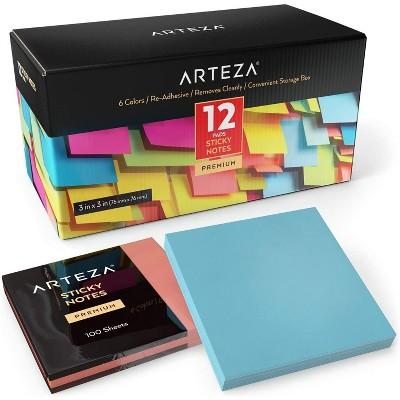 Arteza Sticky Notes, Assorted Colors, 100 Sheets for School - 12 Pack (ARTZ-8546)