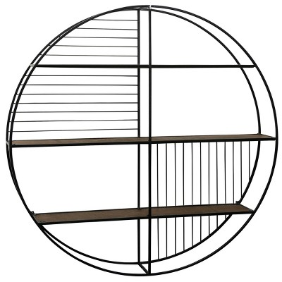 Metal Circular Open Wall Shelf Unit with Wood Shelving Brown/Black - StyleCraft