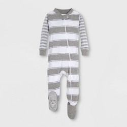 b5af204d8 Burt's Bees Baby® Baby Mixed Peace Stripe Organic Cotton Footed Sleeper -  Gray