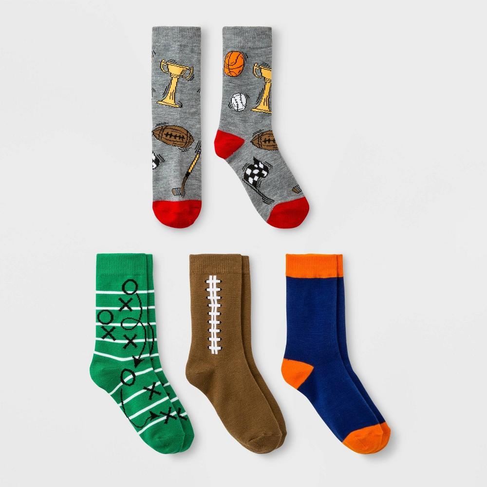 Image of Boys' 4pk Crew Socks - Cat & Jack Brown M, Boy's, Size: Medium