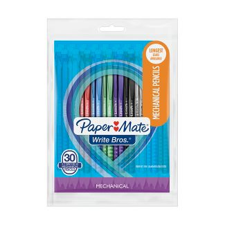 Paper Mate WriteBros Mechanical Pencil 0.7mm Translucent Assorted 30 Count