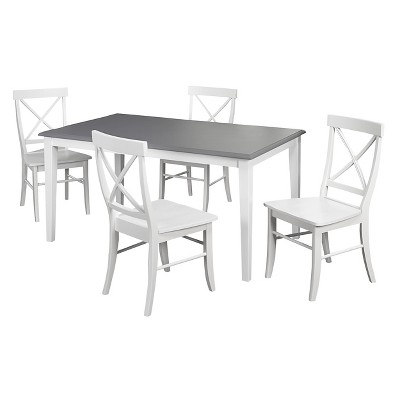 5pc Helena Dining Set White/Gray - Buylateral