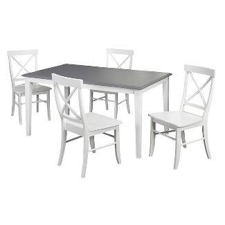 Helena Dining Set White/Gray 5 Piece - TMS