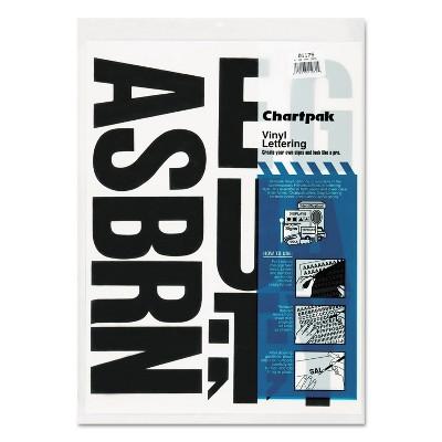 "Chartpak Press-On Vinyl Uppercase Letters Self Adhesive Black 4""h 58/Pack 01175"