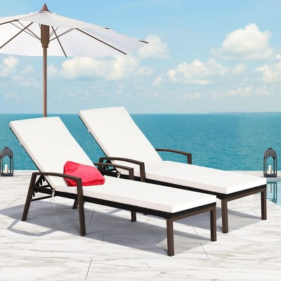 Costway 2PCS Patio Rattan Lounge Chair Chaise Recliner Back Adjustable Cushioned Garden Brown