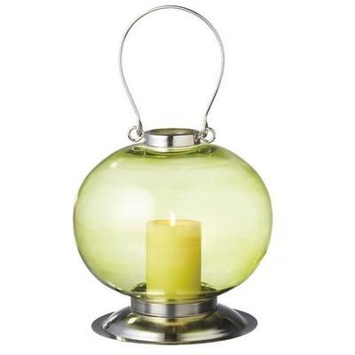 "Ganz 10.5"" Fancy Fair Round Silver and Green Retro Glass Pillar Candle Holder Lantern"