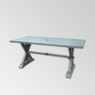 Lamphere Rectangle Aluminum Modern Dining Table  Dark Gray - Christopher Knight Home