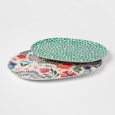 2pc Melamine and Bamboo Floral Serving Platter Green - Opalhouse™