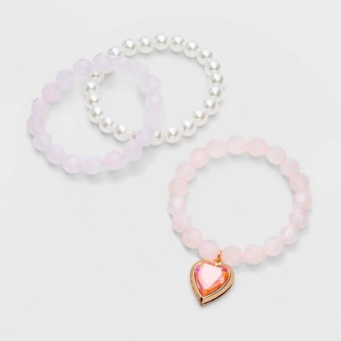 Girls' Heart Beaded Locket Bracelet - Cat & Jack™ - image 1 of 2