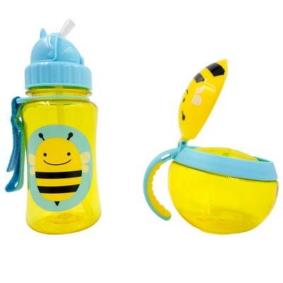 Skip Hop 2pc On The Go Water Bottle and Snack Cup Set - Bee