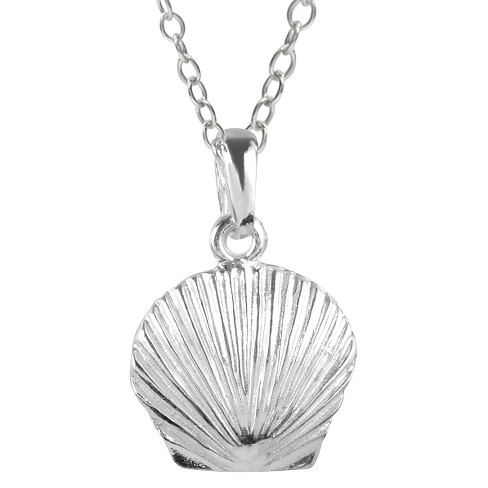 "Women's Journee Collection Sea Shell Pendant Necklace in Sterling Silver - Silver (18"") - image 1 of 2"