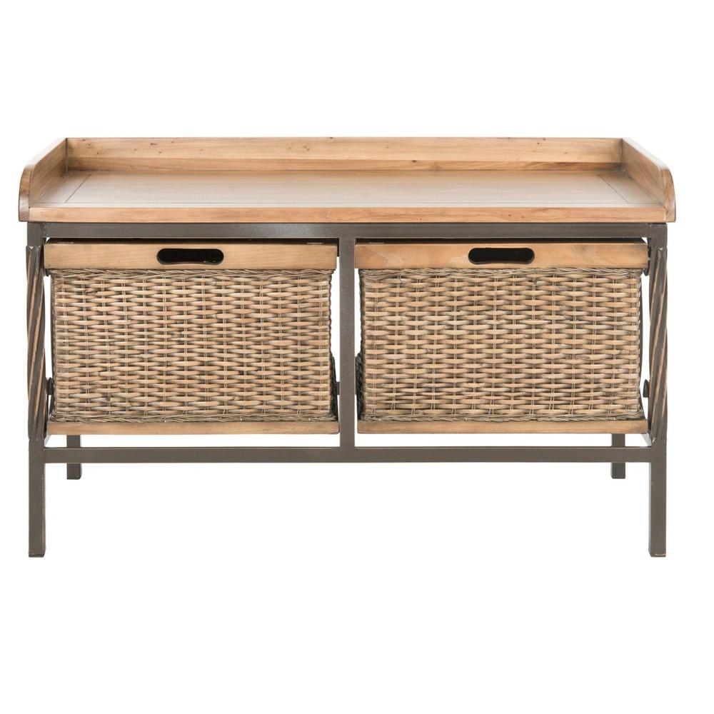 Noah Storage Bench Wood/Oak (Brown) - Safavieh