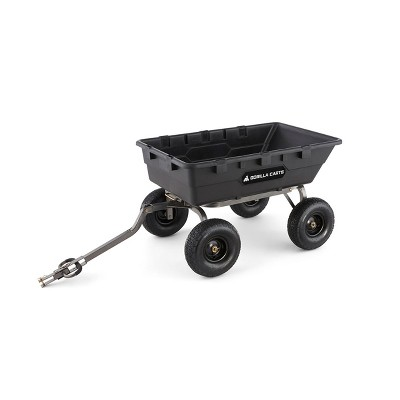 Gorilla Carts 1500 Pound Capacity Heavy Duty Poly Yard Garden Steel Dump Utility Wheelbarrow Wagon Cart with 2 in 1 Towing ATV Handle, Black