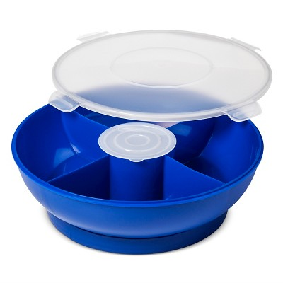 Plastic Round 4 Section Divided Server with Lid Blue