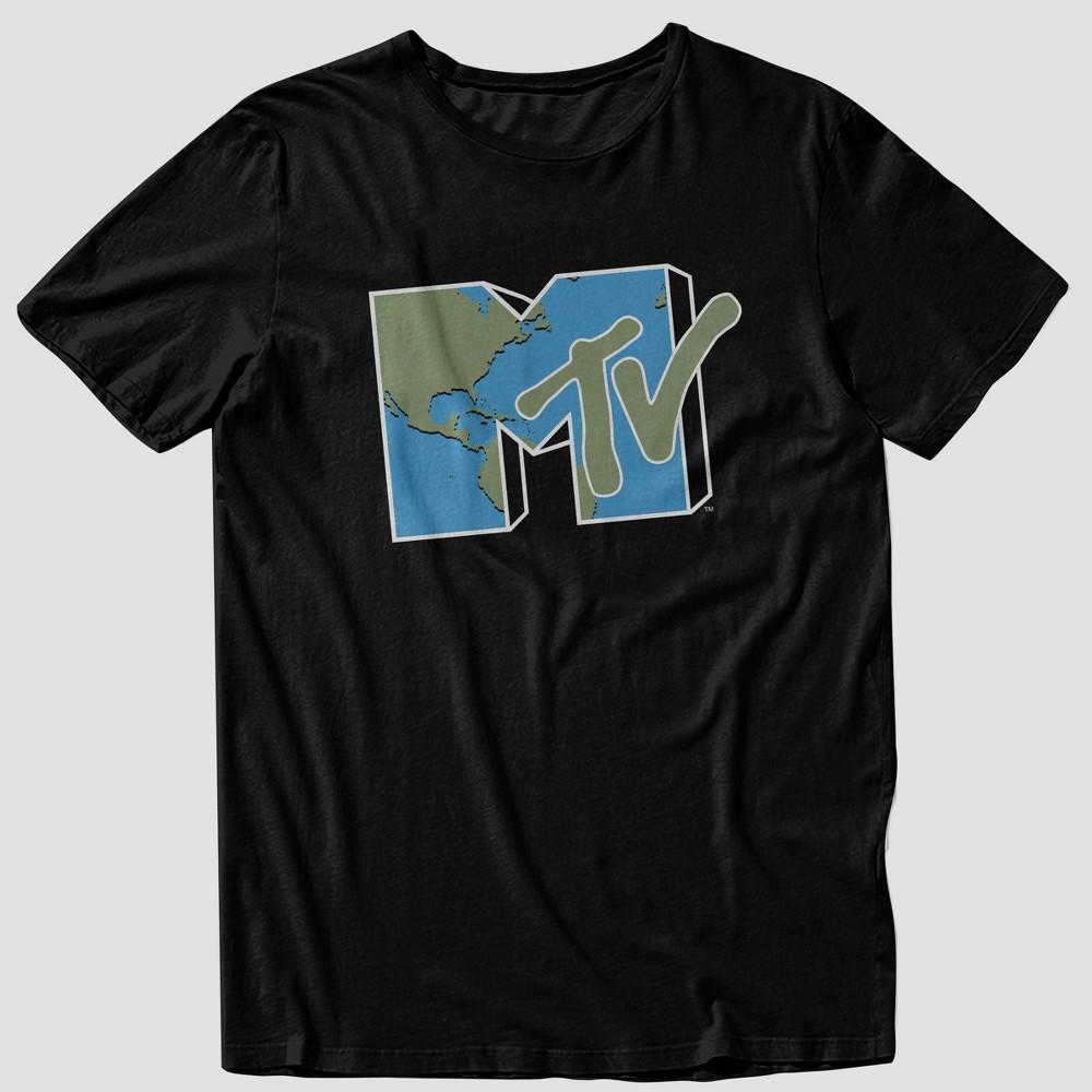 Men 39 S Mtv Earth Short Sleeve Graphic Crewneck T Shirt Black Xl