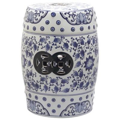 Bayonne Garden Stool - Blue/White - Safavieh