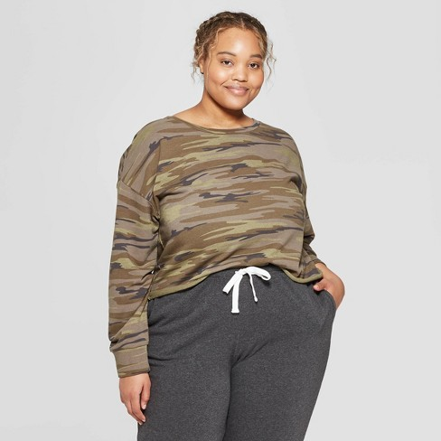 c558b5e6813 Women s Plus Size Camo Print Cropped Crewneck Lounge Sweatshirt - Colsie™  Green   Target