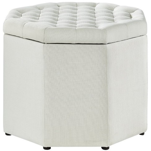 Adrian Beige Linen Storage Ottoman - Upholstered - Button Tufted in Beige - Posh Living - image 1 of 3