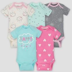 deeefe0e5 Gerber Baby Girls' 5pk Short Sleeve Onesies Bodysuit Clouds - Green/Pink /Gray