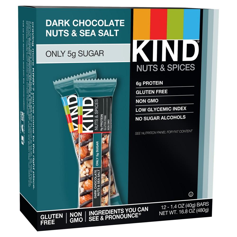 KIND Dark Chocolate Nuts & Sea Salt Nutrition Bars 12ct /...