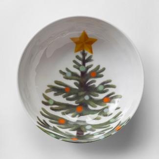 33oz Plastic Christmas Tree Cereal Bowl White/Green - Wondershop™