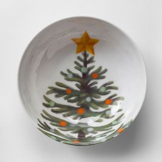 33oz Plastic Christmas Tree Cereal Bowl White/Green - Wondershop™