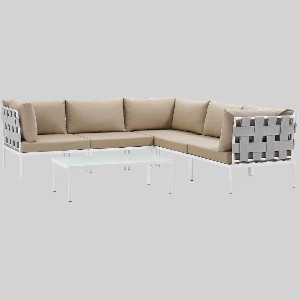 Harmony 6pc Aluminum Outdoor Patio Sectional Sofa Set - Beige - Modway