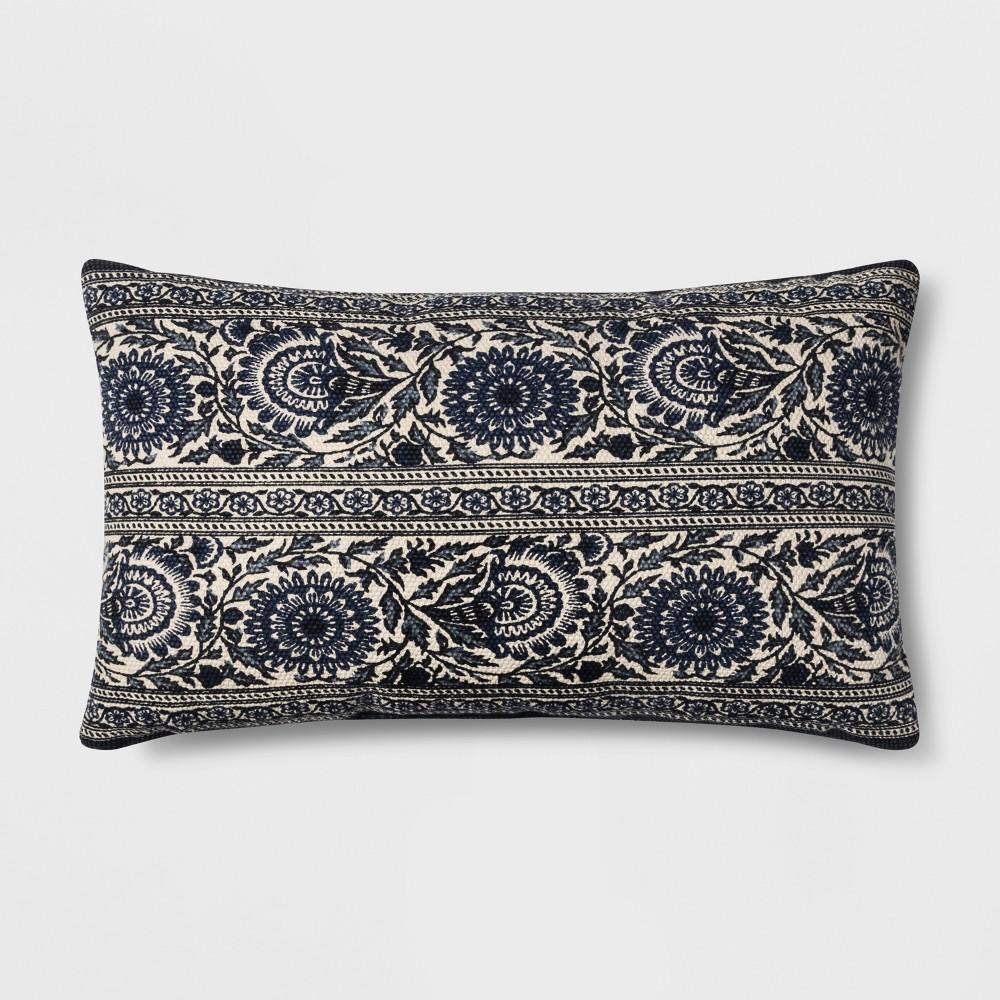 Floral Oversized Lumbar Throw Pillow Blue - Threshold