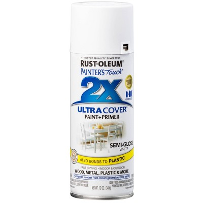 Rust-Oleum 12oz 2X Painter's Touch Ultra Cover Semi Gloss Spray Paint White